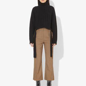 High Waist Split Bottom Wool Twill Cropped Pants